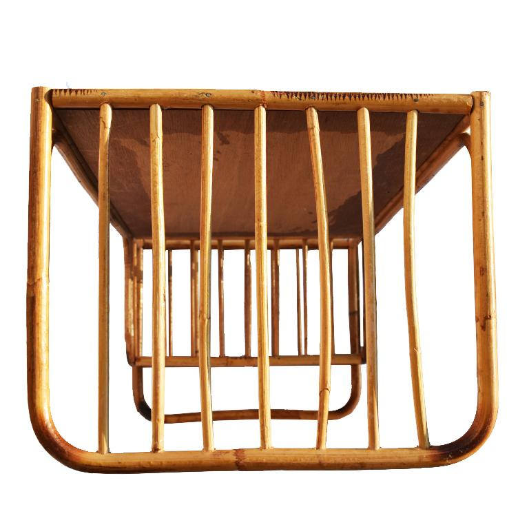 British Colonial Bamboo and Cane Bentwood Breakfast in Bed Tray with Newspaper Rack, 1930s For Sale