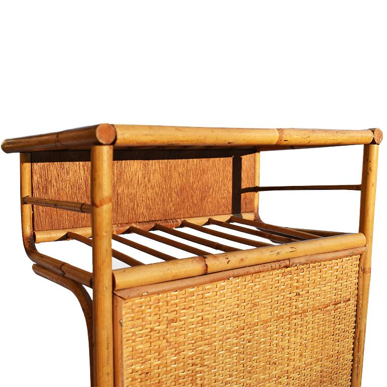 Singaporean Bamboo and Cane Bentwood Breakfast in Bed Tray with Newspaper Rack, 1930s For Sale