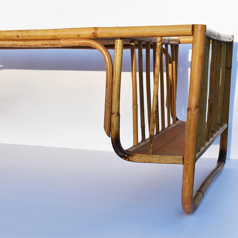 Bamboo and Cane Bentwood Breakfast in Bed Tray with Newspaper Rack, 1930s In Good Condition For Sale In Oklahoma City, OK