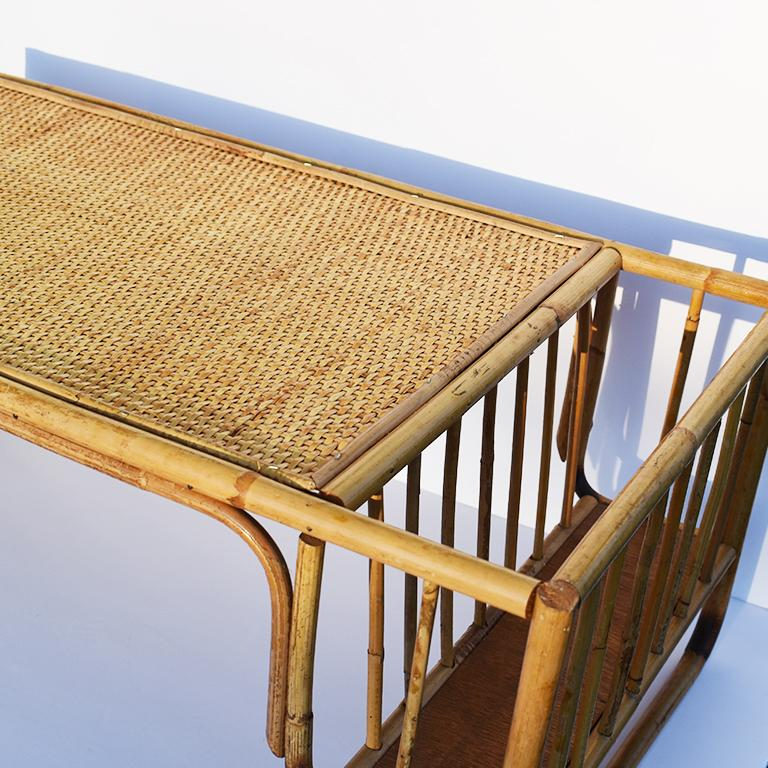 20th Century Bamboo and Cane Bentwood Breakfast in Bed Tray with Newspaper Rack, 1930s For Sale
