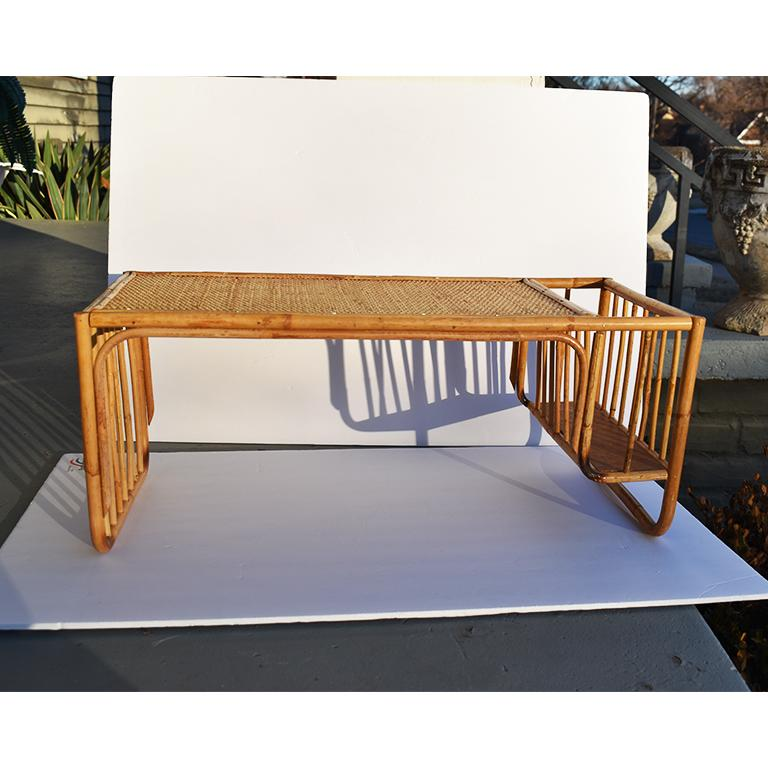 Bamboo and Cane Bentwood Breakfast in Bed Tray with Newspaper Rack, 1930s For Sale 2