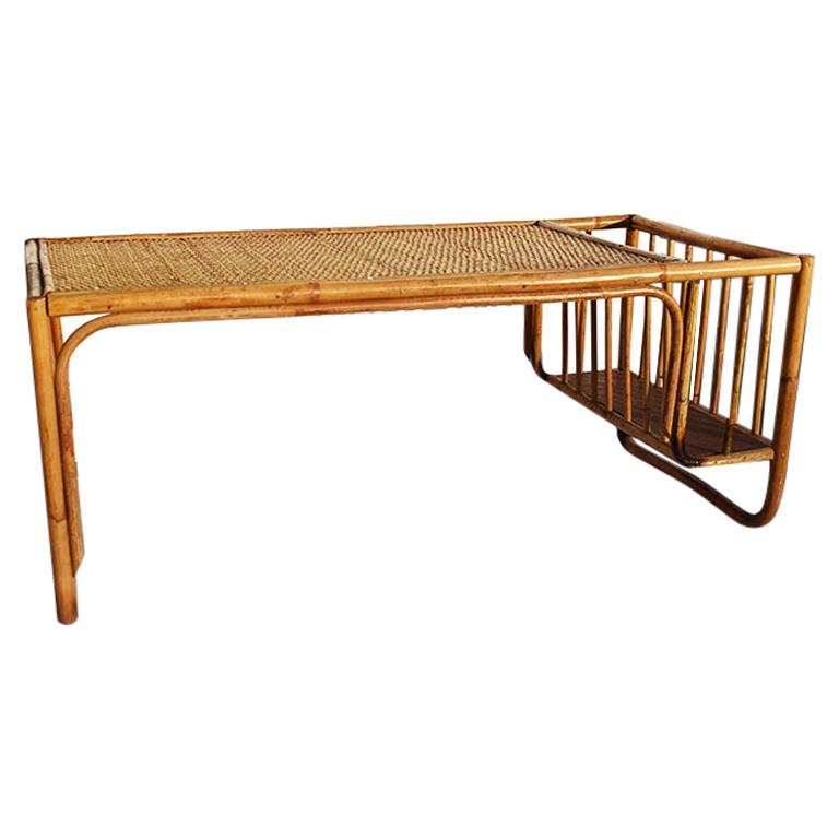 Bamboo and Cane Bentwood Breakfast in Bed Tray with Newspaper Rack, 1930s For Sale