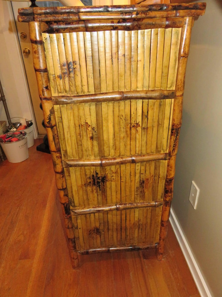 Bamboo and Cane  British Colonial Style Dresser or Drawers In Excellent Condition For Sale In Bellport, NY