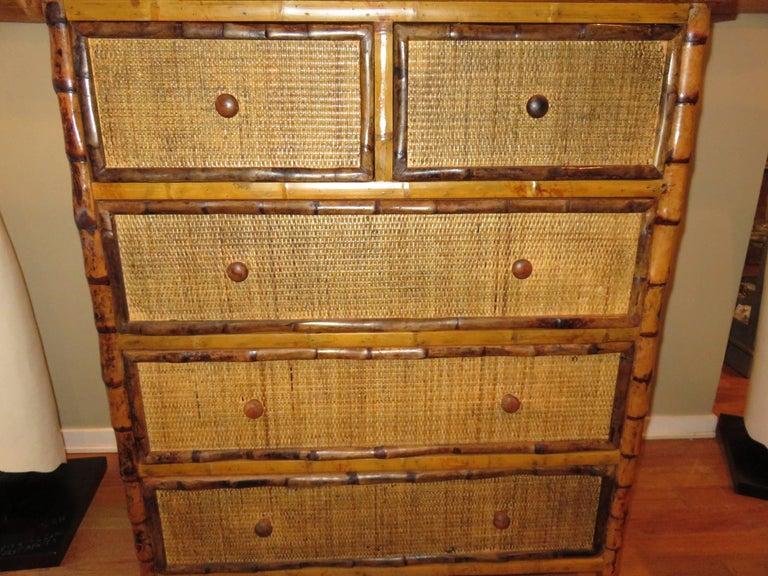 20th Century Bamboo and Cane  British Colonial Style Dresser or Drawers For Sale