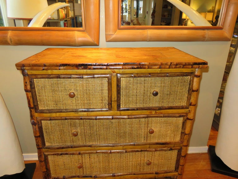 Bamboo and Cane  British Colonial Style Dresser or Drawers For Sale 1