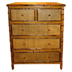 Bamboo and Cane  British Colonial Style Dresser or Drawers