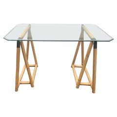 Bamboo and Chrome Sawhorse Table