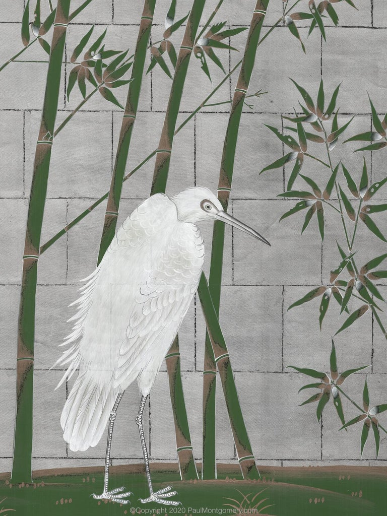 Chinoiserie Bamboo and Cranes Mural in Green For Sale