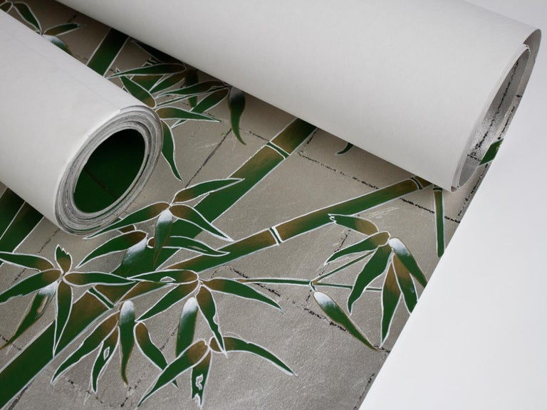 American Bamboo and Cranes Mural in Green For Sale