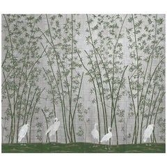 Green Bamboo and White Cranes on metal leaf Wallpaper
