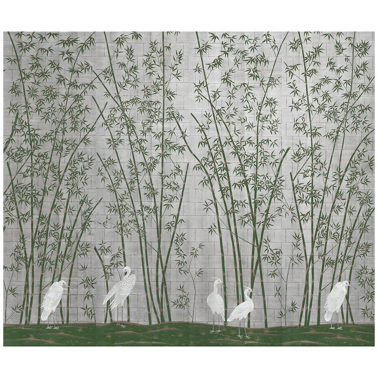 Bamboo and Cranes Mural in Green For Sale