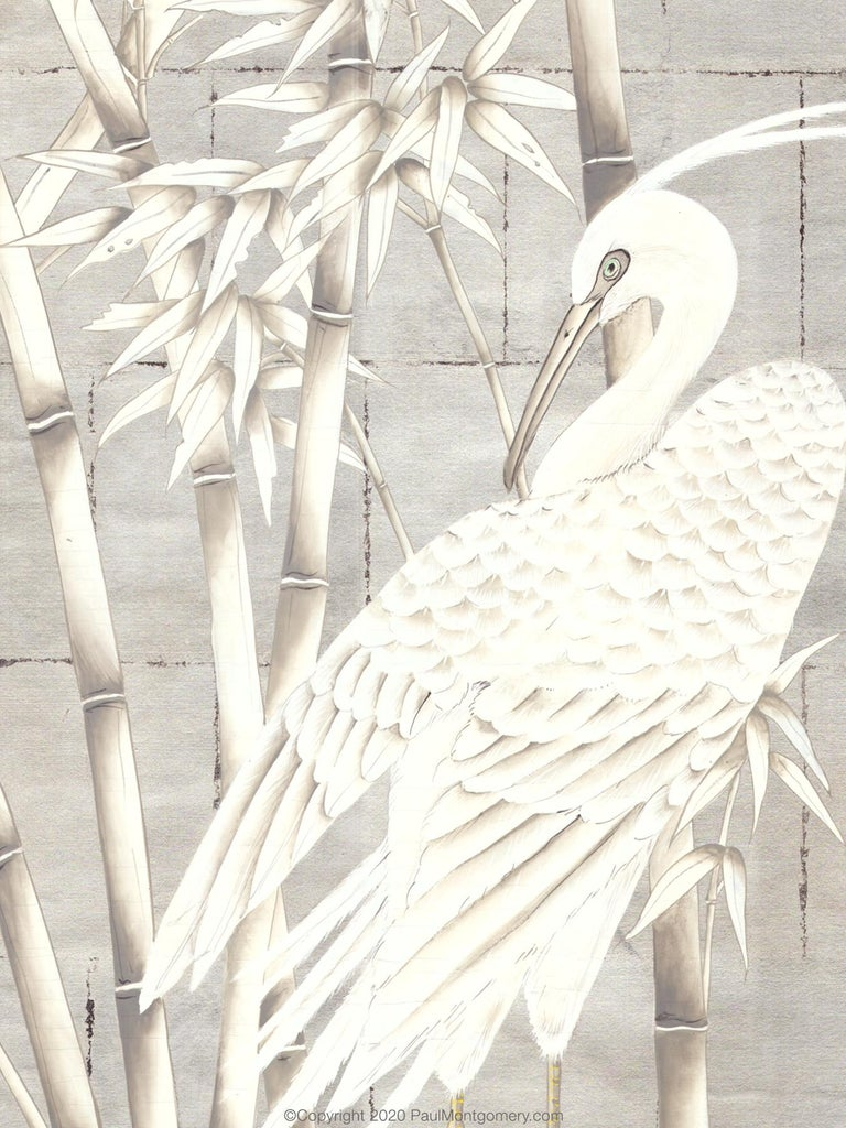 Chinoiserie Bamboo and Cranes Mural in White For Sale