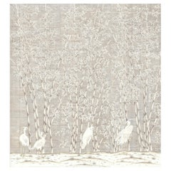 White Bamboo and Cranes on metal leaf Wallpaper