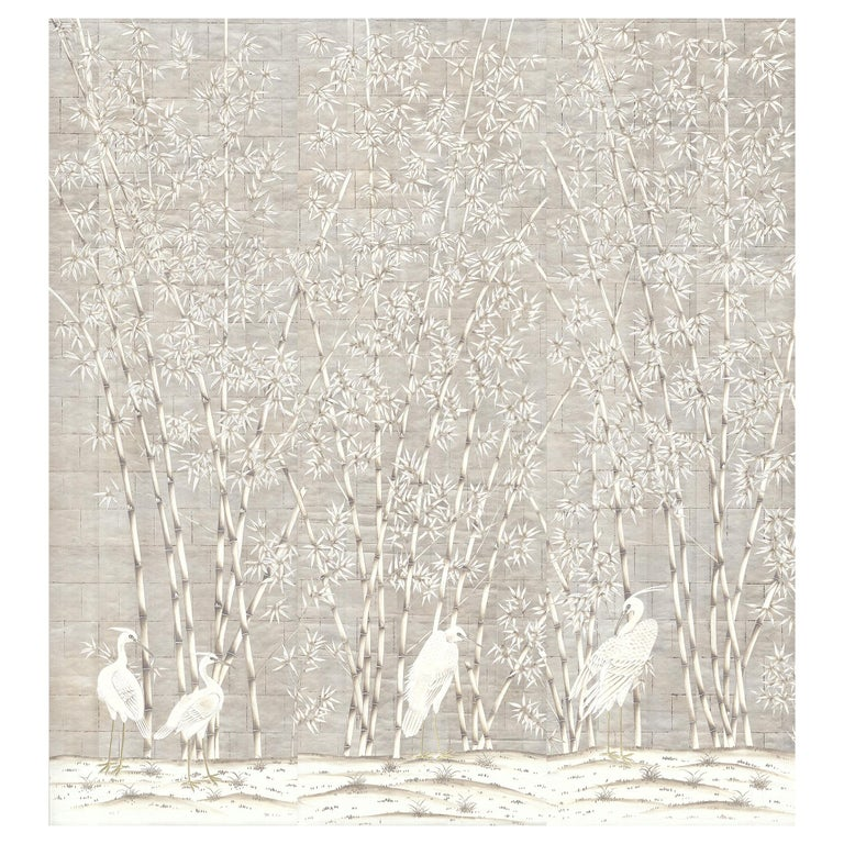 Bamboo and Cranes Mural in White For Sale