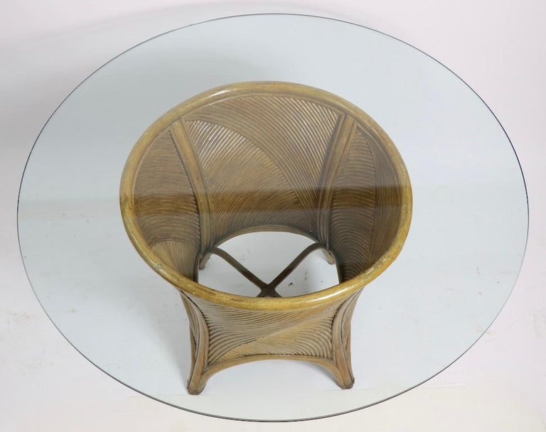 Bamboo and Glass Dining Table after McGuire For Sale 5