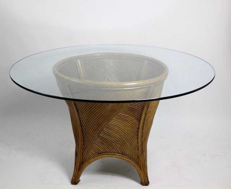 Bamboo and Glass Dining Table after McGuire For Sale 1