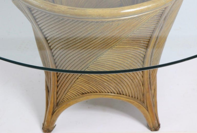 Bamboo and Glass Dining Table after McGuire For Sale 2