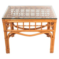 Bamboo and Glass Side, End Table