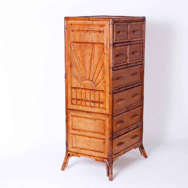 British Colonial Bamboo and Grasscloth Chest of Drawers For Sale