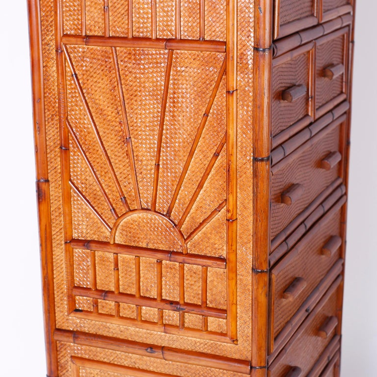 Philippine Bamboo and Grasscloth Chest of Drawers For Sale