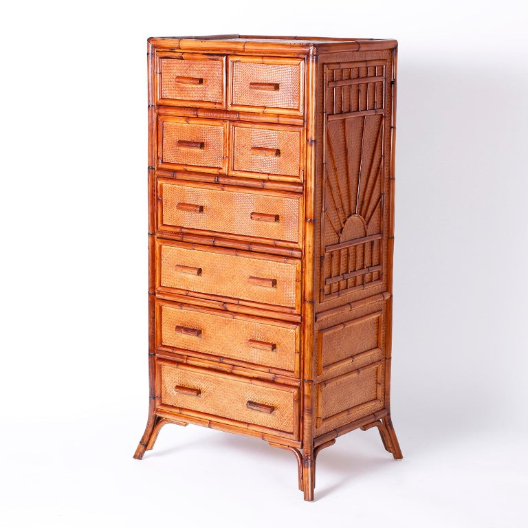 Bamboo and Grasscloth Chest of Drawers In Good Condition For Sale In Palm Beach, FL