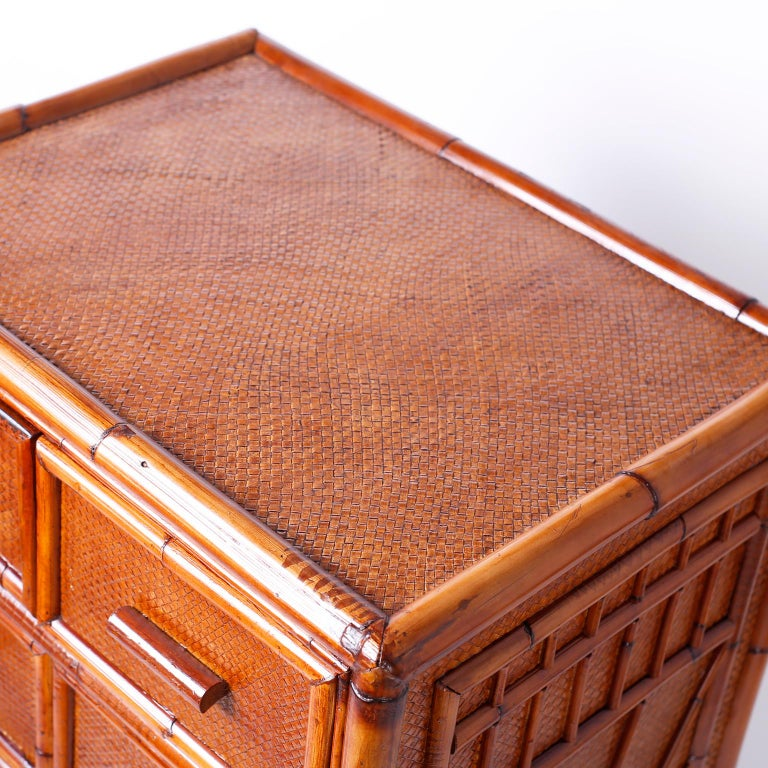 20th Century Bamboo and Grasscloth Chest of Drawers For Sale