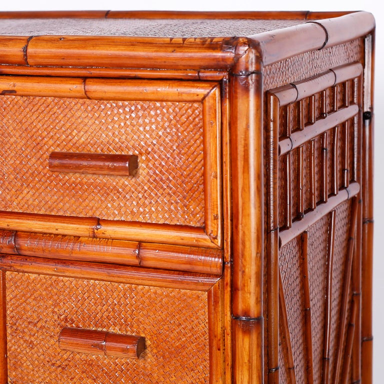Bamboo and Grasscloth Chest of Drawers For Sale 1
