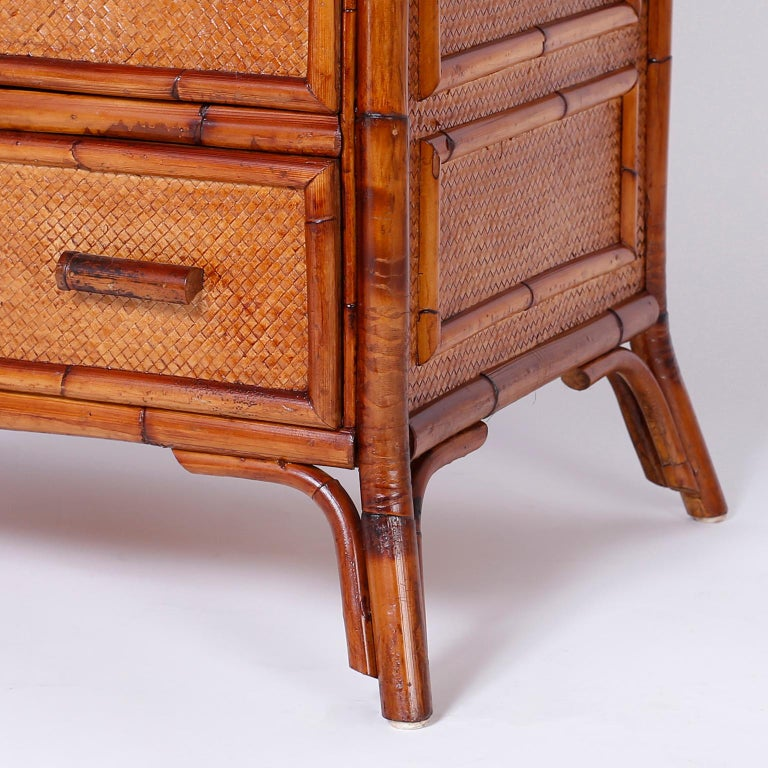 Bamboo and Grasscloth Chest of Drawers For Sale 2