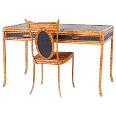 Bamboo and Grasscloth Desk and Chair