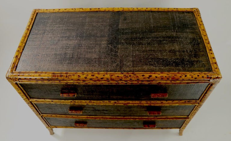 Campaign Bamboo and Grasscloth Dresser by Maitland Smith