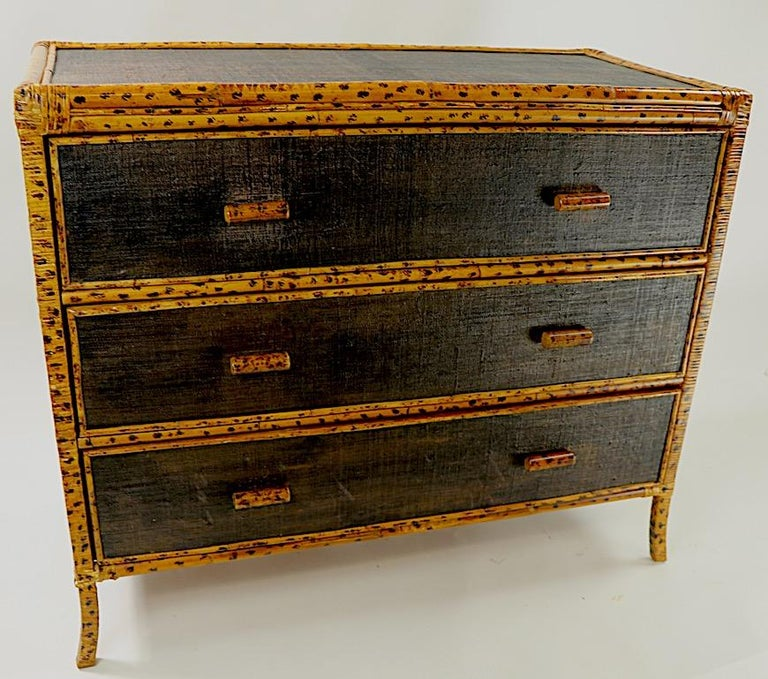 Bamboo and Grasscloth Dresser by Maitland Smith 1