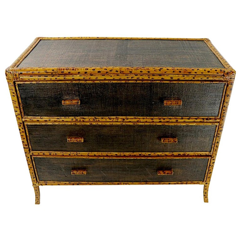 Bamboo and Grasscloth Dresser by Maitland Smith