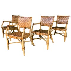 Bamboo and Leather Dining Chairs by McGuire - Set of 4Set of 4 bamboo dining cha