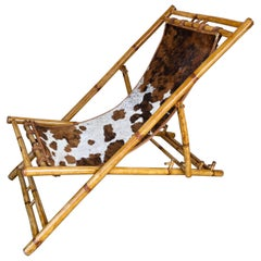 Bamboo and Leather Lounge Chair, Italy, 1980s