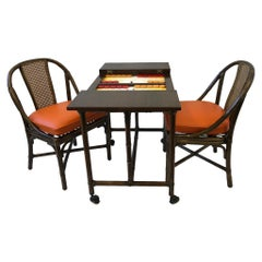 Bamboo and Oak Backgammon Game Table and Chairs by McGuire