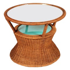 Bamboo and Raffia Coffee Table with Mirror, Franca Helg Franco Albini Style