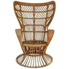 Bamboo and Rattan Armchair Designed by Lio Carminati & Gio Ponti