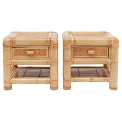 Bamboo and Rattan Bed Sideboard, 1980s