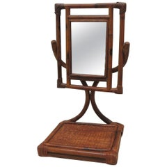 Bamboo and Rattan Campaign Vanity Mirror with Tray Stand