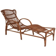 Bamboo and Rattan Chaise Lounge Midcentury, Spain