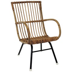 Bamboo and Rattan Childs Chair Attributed to Franco Albini