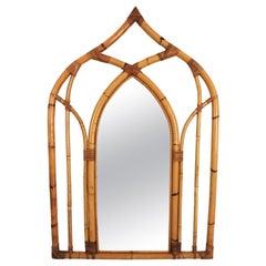 Bamboo and Rattan Italian Modernist Arabic Inspired Wall Mirror