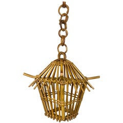 Bamboo and Rattan Lantern Chandelier Pendant, Italy, 1960s