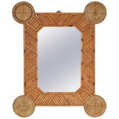 Bamboo and Rattan Mirror by Arpex, Italy