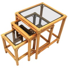 Bamboo and Rattan Nesting Tables with Smoked Glass Top