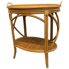 Bamboo and Rattan Oval Bar Cart