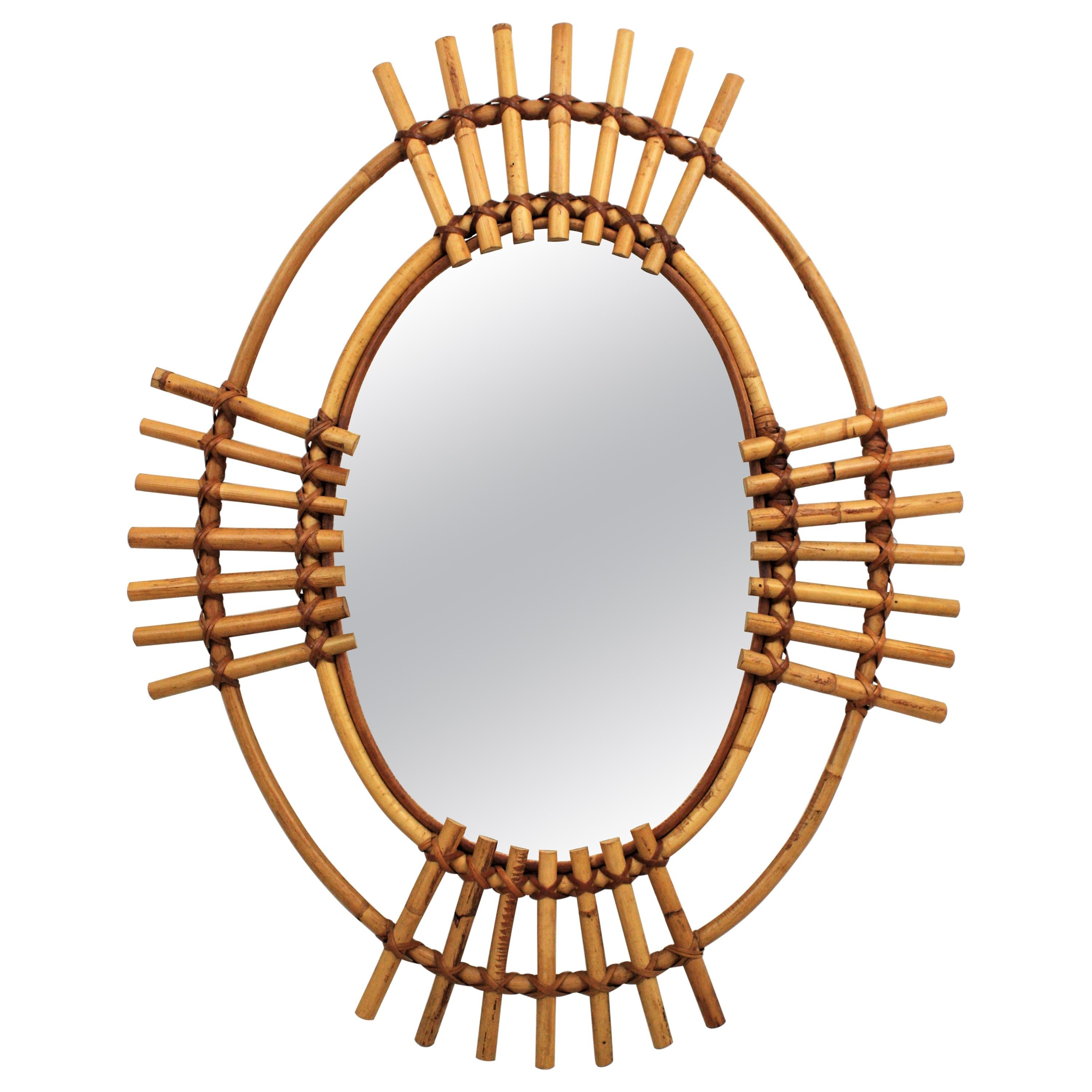 Bamboo and Rattan Oval Sunburst Mirror from Spain