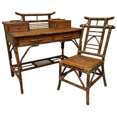 Bamboo and Rattan Pagoda Style Writing Desk and Chair