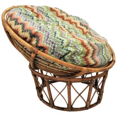 Bamboo and Rattan Papasan Lounge Chair with Missoni Style Cushion