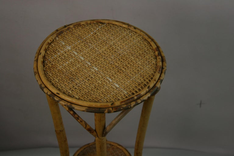 Bamboo and Rattan Plant Stand /Pedestal In Good Condition For Sale In Douglas Manor, NY